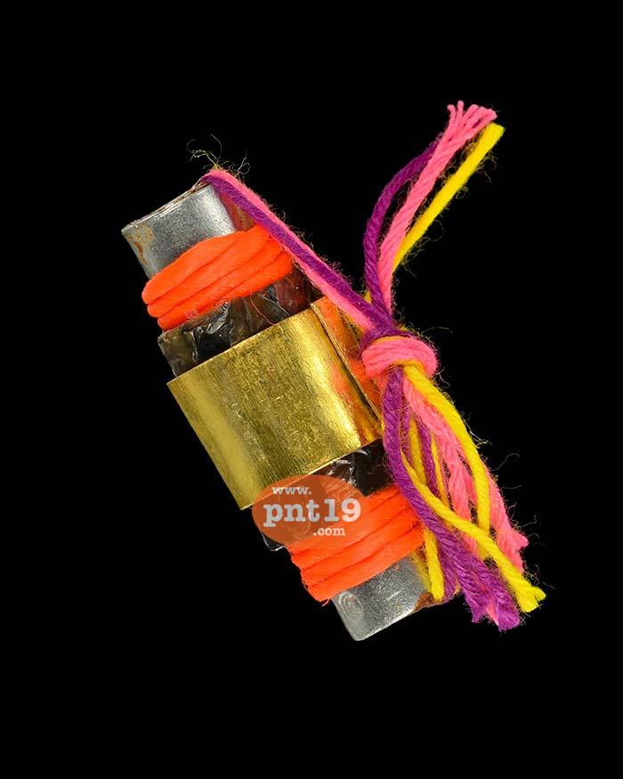 ตะกรุดร้อยชู้ พญางูพันหลัก ดอกสีส้ม ยาว 2.8 ซ.ม. หลวงปู่อินทร์ สำนักสงฆ์คลองขี้เหล็ก