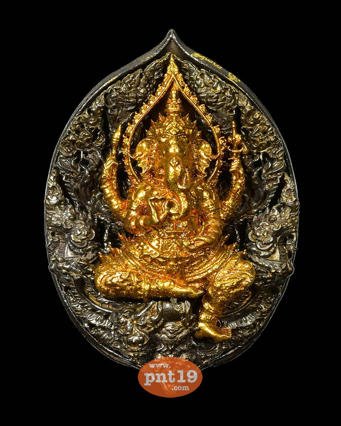 พระพิฆเนศ-พญาครุฑ จิตสมปรารถนา 17.1 องค์ทองส้ม ลายกนก+แผ่นหลัง ทองแดงรมดำ วัดพระพุทธบาทดงงู