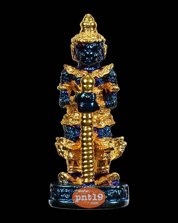 ท้าวเวสสุวรรณลอยองค์ เจริญสุข63 (พิมพ์เข่าตรง) มหาชนวน ชุบ 2K น้ำเงิน-ทอง หลวงพ่ออิฎฐ์ วัดจุฬามณี
