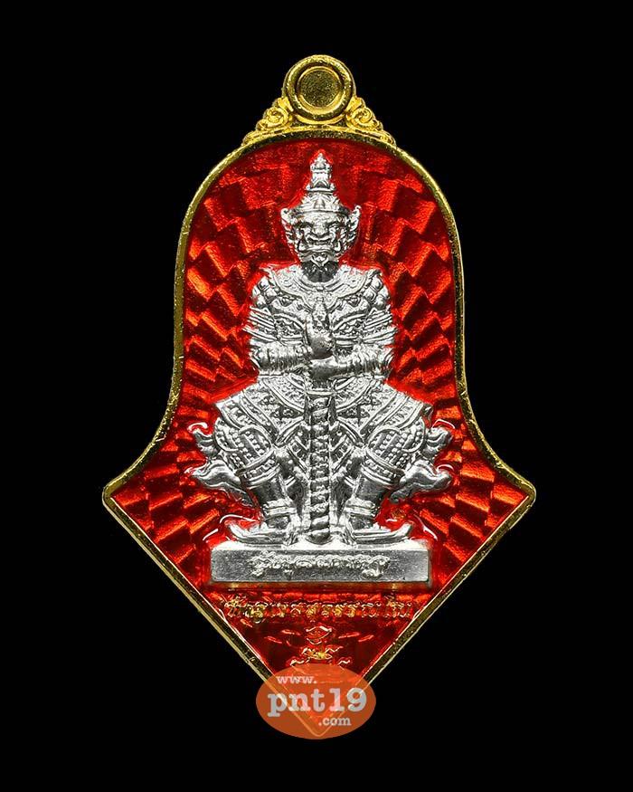 เหรียญท้าวเวสสุวรรณ วิมุตติสุข ชนวนทองแดงชุบทองลงยาแดง หน้ากากเงิน หลวงพ่ออิฎฐ์ วัดจุฬามณี