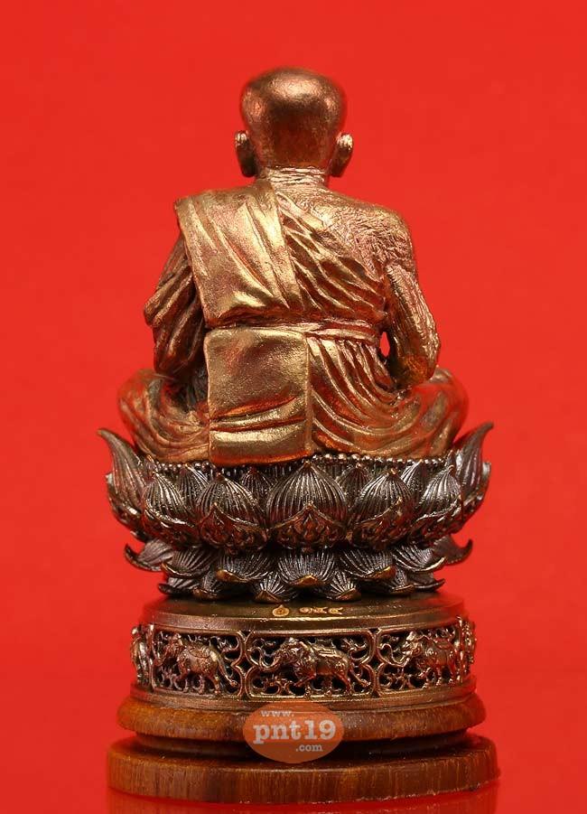 พระบูชาหลวงปู่ทวดฐานบัว 4 ชั้น อุดกริ่ง หนุนด้วยช้างมงคล 8 เชือกพร้อมฐานไม้สัก นวะวรรณะทอง หลวงปู่ทวด มูลนิธิพระมหามงคลพุทธนิมิตฯ(กวนอิม)
