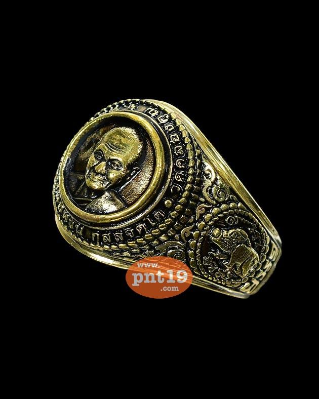 แหวนชนะจน (ใหญ่) เนื้อทองทิพย์ลงยาดำ( Size 64 ) หลวงพ่อหวั่น วัดคลองคูณ