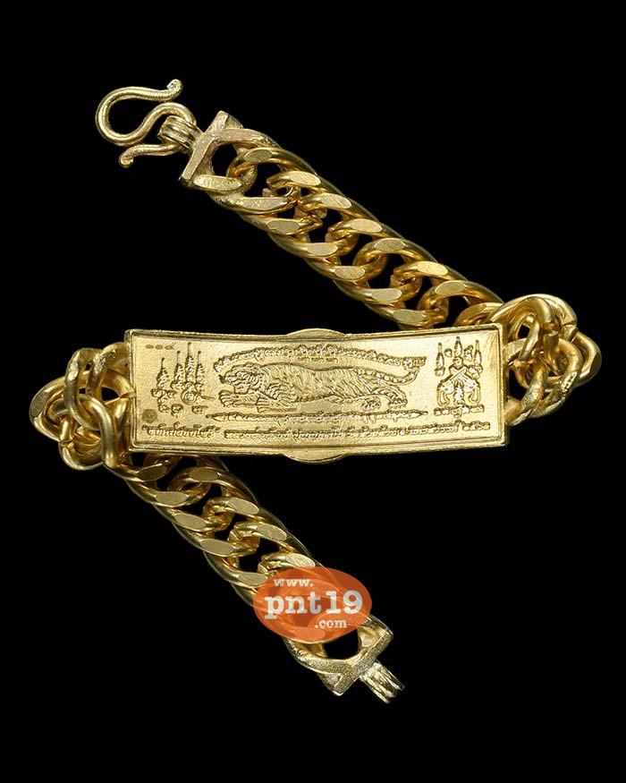 เลสพยัคฆ์สยบไพรี ( 2 บาท พร้อมสาย) ทองทิพย์ลงยาขอบเขียว พื้นแดง หน้ากากทองขาว หลวงปู่พัฒน์ วัดห้วยด้วน (วัดธารทหาร)