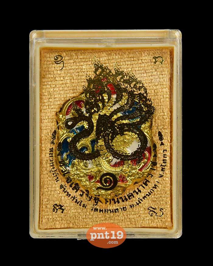 เหรียญปั๊มหัวใจเศรษฐี พญาอนันตนาคราช ชนวนลงยาลายธงชาติ หลวงปู่ถิน วัดคอนสาย